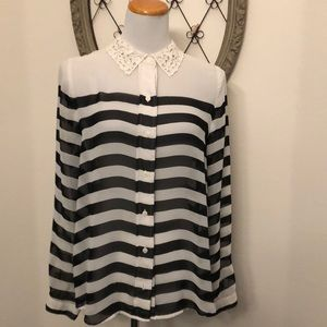 Lauren Conrad Black and white sheer blouse size l
